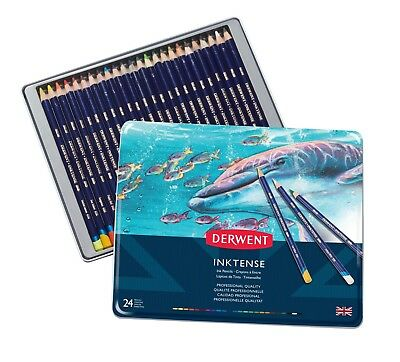 Derwent Inktense Watersoluble Pencil Tin of 24 Assorted Colours 0700929
