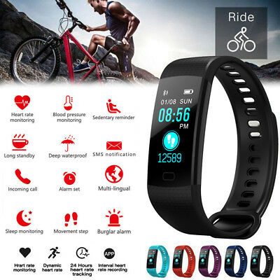 Y5 Fitness Blood Pressure Oxygen Heart Rate Monitor Smart Watch Band Bracelet