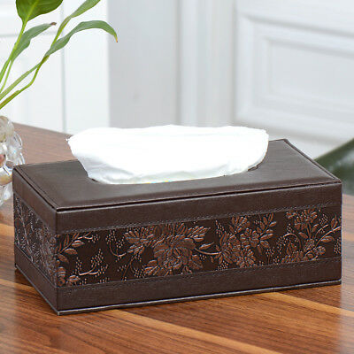 Car Home Tissue Box Cover Napkin Paper Holder Vintage Rectangle PU Leather