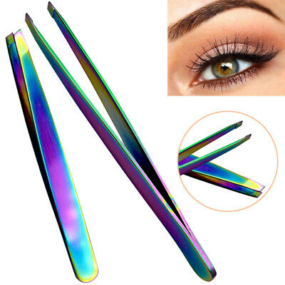 Professional Eyebrow Slanted Tip Sharp Tweezers Hair Remover Stainless Tool