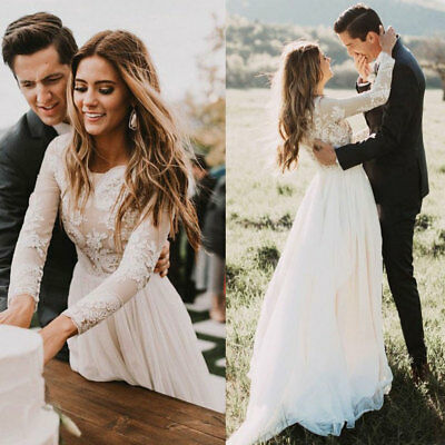 Garden Wedding Dresses Long Sleeves A-line Bridal Gown Lace Tulle Custom UK Plus