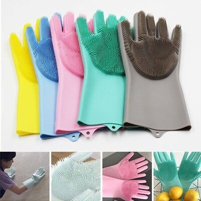 Magic Reusable Silicone Gloves Cleaning Brush Glove Heat Resistant Kitchen Glove