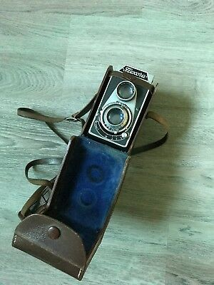 Antike Flexora Lipca TLR Camera mit Ledertasche