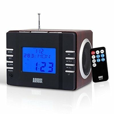 August Wooden Radio Alarm FM Clock Stereo Speaker Card Reader USB Audio Cable
