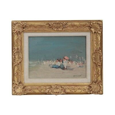 "Antique Oil Painting of ""Beach Scene"" by Jaime E. Carret (American, 1878-1941)"