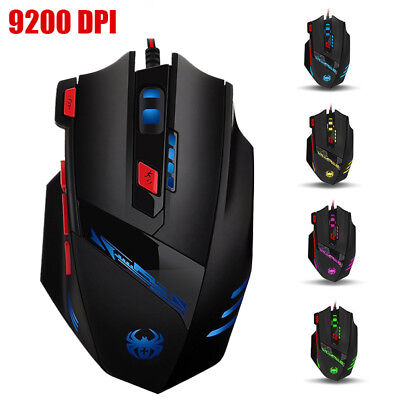 Zelotes 9200 DPI Gaming Mouse 8 Buttons LED Light Optical Wired for PC Laptop
