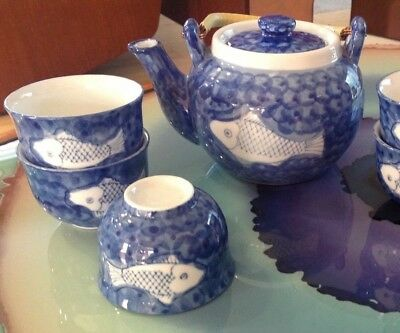Vintage Japanese/Chinese Tea Pot~Bamboo Handle w/5 cups. Fish Decoration-Heavy