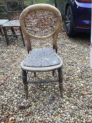 Antique Vintage Balloon Back Turned Legs Dining Chair for restoration