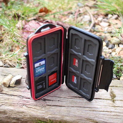 Fits 12 SD+12 Micro SD TF Cards Water Resistant Holder Storage Memory Card Case