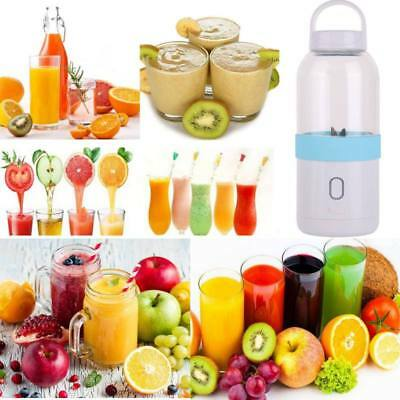 500ML USB Rechargeable Portable Electric Juicer Cup Fruit Slicer Blender w/Cable