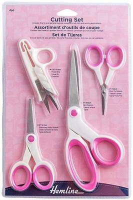 Hemline 4pc Cutting Set - Pink & White - Embroidery, Thread Snips, Bent Scissors