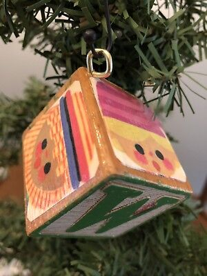 Art of Mary Blair Its a Small World Vintage Wood Block Christmas Ornament W/J
