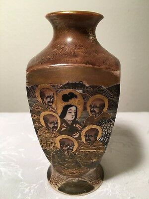 Antique Satsuma Faces Vase (Old Vintage Japan Japanese Asia Man Woman Mark Brown