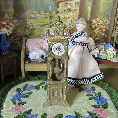 Antique Dollhouse GOLD METAL CLOCK Victorian 1800s Miniature Doll Furniture