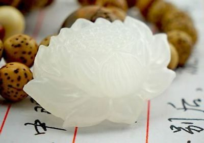 Beautiful Natural Chinese white jade hand carved lotus lucky pendant