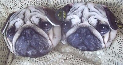PAIR cute PUG NEW w tag puppy DOG accent throw PILLOWS nwt GREY gift Gifts decor