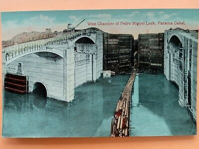 West Chamber of Pedro Miguel Lock, Panama Canal postcard