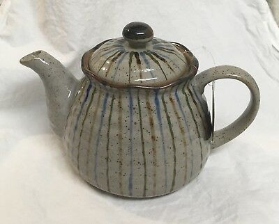 Japanese Infuser Ceramic Teapot Daiso Japan New With Tags Blue Green Stripes