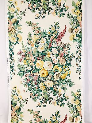 Vtg Clarence House Cotton Linen Fabric 1993 Hand Blocked Print Bouquet 1.6 Yds