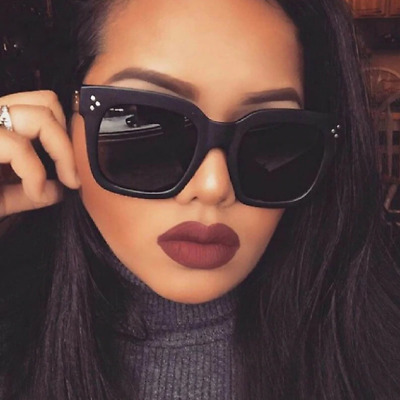 f068d4ade0 Kim Kardashian Sunglasses Oversized Top Flat Black Women Celine Fashion Cat  Eye