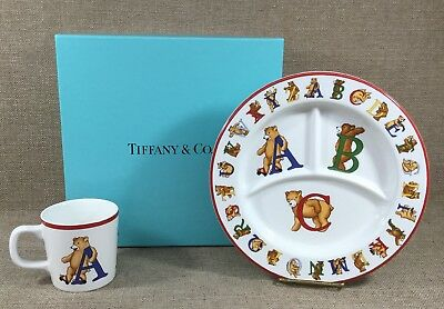 1994 Tiffany & Co Alphabet Bears Childs Divided Plate & Mug W/ T&co Paper In Box