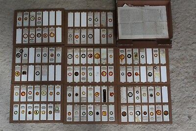 Fine Bookform Cased Victorian Microscope Slide Collection Approx 100 Slides