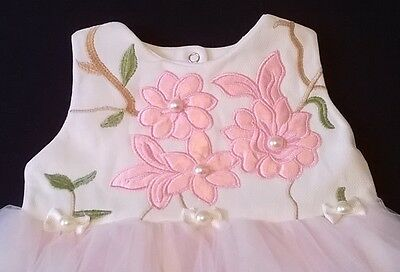 Visara baby christening party dress applique flower pink ivory 6-12 new