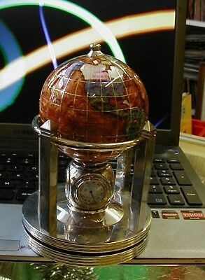 Gorgeous gemstone globe with clock and thermometer