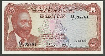 Kenya 5 Shillings Crisp UNC Banknote dated 1 July 1978; control C/6 #632781