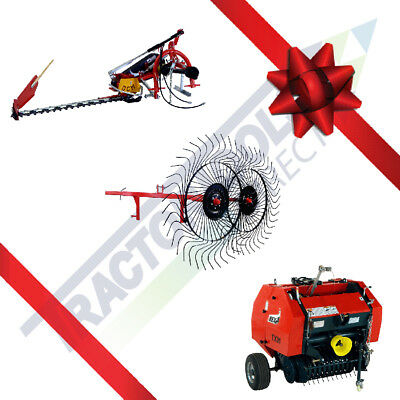 Holiday Hay Package: Sickle Bar Mower+Belt Rake+Mini Round Baler