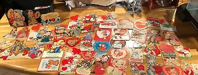 Estate Lot 80 Vintage 1940's  50's Valentine Day Greeting Cards Mechanical