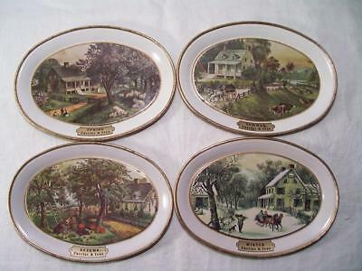 Vintage Currier & Ives 4 Pc. Tin Trays 4 Seasons American Homestead by Fabcraft