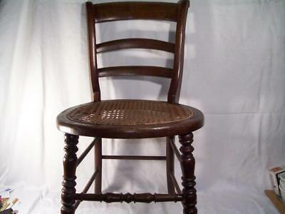 "Antique Oak Wood Childs Ladderback Chair Caned Seat Large Doll 27"" Tall Turned"