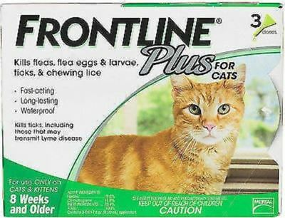 NEW Merial Frontline Plus for Cats and Kittens Up to 8-Week, Older 3 Doses 109E