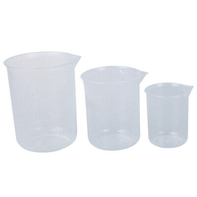 2X(50 150 250 ml Laboratory transparent plastic 3 pcs measuring cup Measuri Y0A0