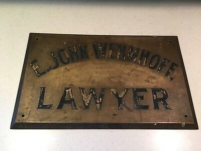 Vintage Brass E John Wehmhoff Lawyer Building Office Historical Sign