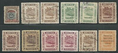 Brunei 12 stamps mint(6) and used(6) - unchecked for watermarks