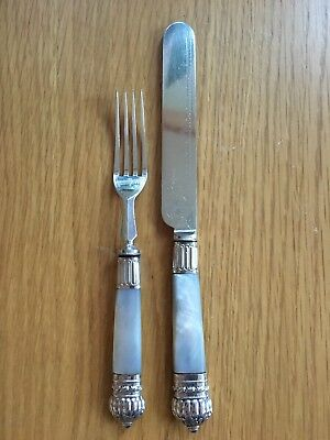 Mappin & Webb Victorian/Edwardian Mother Of Pearl Handled Engraved Knife & Fork