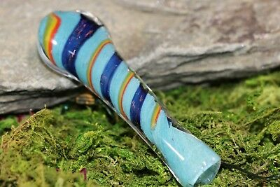 "3"" INCHES Rainbow Pattern Glass TOBACCO Smoking Chillum Hand Pipe One Hitter"
