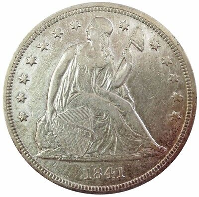 1841 Silver Usa Seated Liberty $1 Dollar Extremely Fine Details Cleaned*