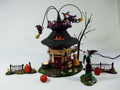 Vtg Dept 56 Halloween WITCH WAY FLIGHT SCHOOL Gift Set Used Flying Animated