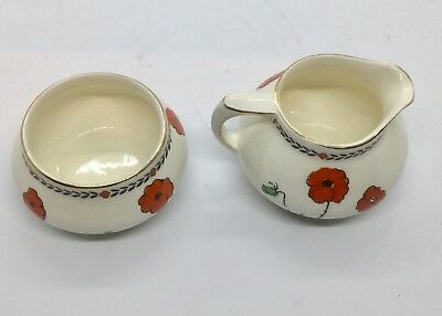 Crown Ducal Poppy Art Deco Small Milk And Sugar Set