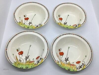 Crown Ducal Poppy Art Deco Four Six Inch Fruit Dishes