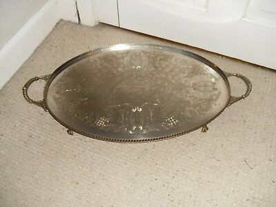 Vintage Sheffield Silver On Copper Large Gallery Tray Chased Decoration Footed