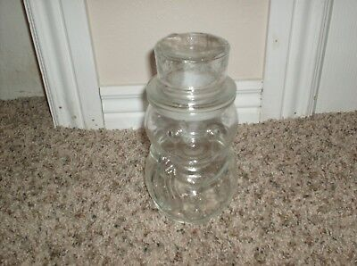 clear glass snowman jar stamped Canada