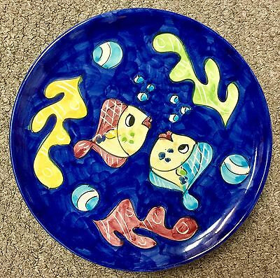 Vietri Pottery-9,4 inch Plate fish pattern.Made/Painted by hand-ITALY