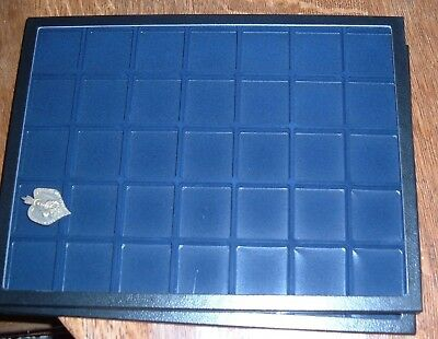 TWO BLUE inserts jewelry case riker mount display shadow box 12X16 divided 35