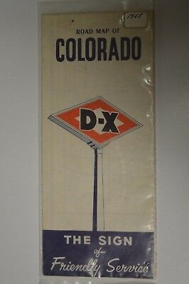 Vintage 1955  - Road Map of Colorado - D-X The Sign of Friendly Service