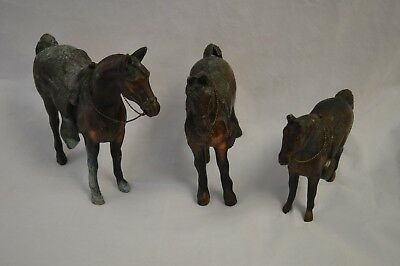 (3) Vintage Metal Horse Figurines - Made in USA