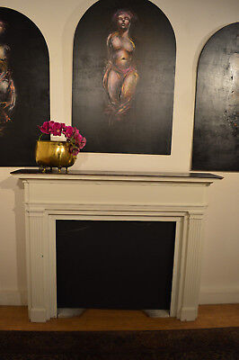 White and Black Painted Fireplace Mantle with Side Vents